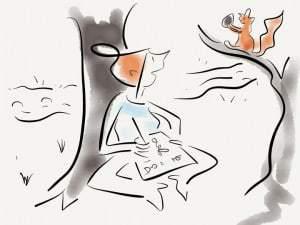 Autorin beobachtet ein Eichhörnchen