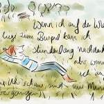 Künstlerin liegt auf der Wiese und denkt über die Zeitnach