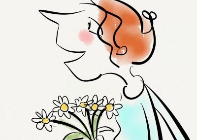 Illustration Frau mit Blumen