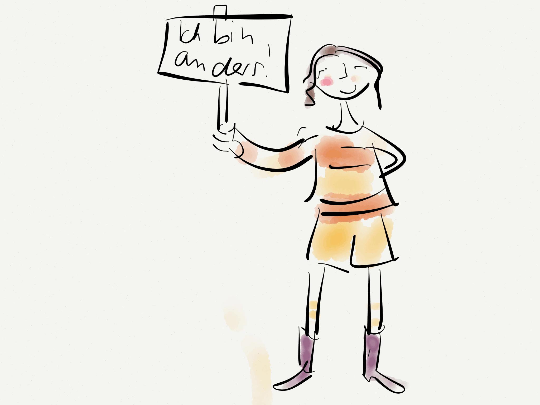 Mädchen hält Schild hoch