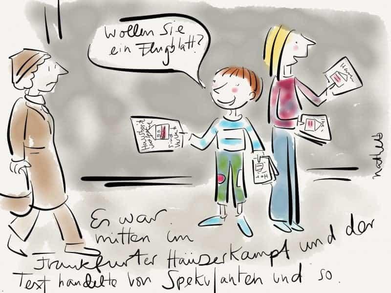 Kinder, die Flugblätter verteilen