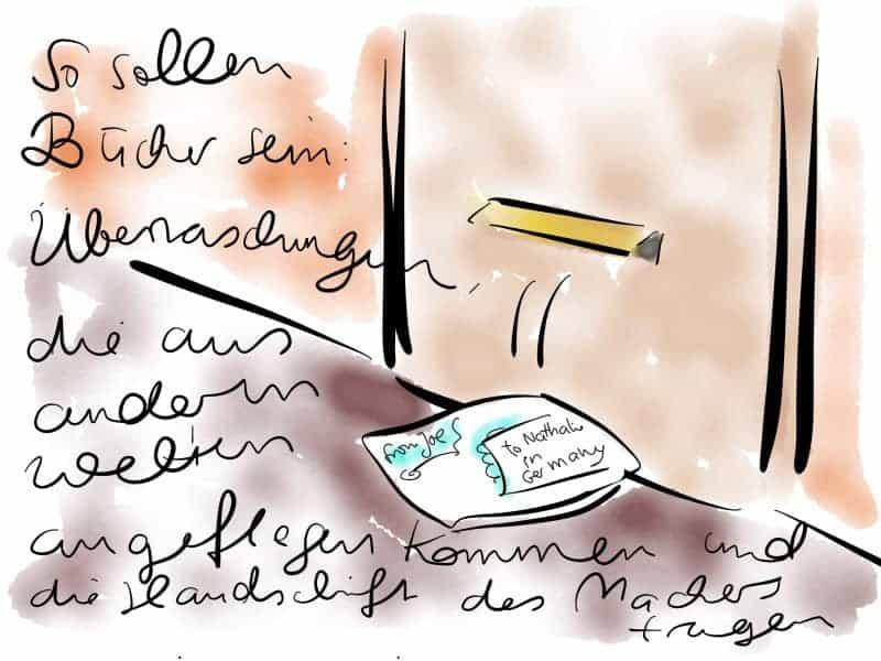 Durch den Briefkästen fällt ein handbeschriftetes Päckchen: So wünsch ich mir den eigenen Verlag