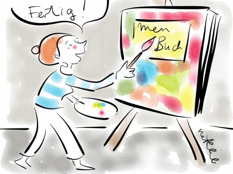 Autorin malt ein Buch auf der Staffelei