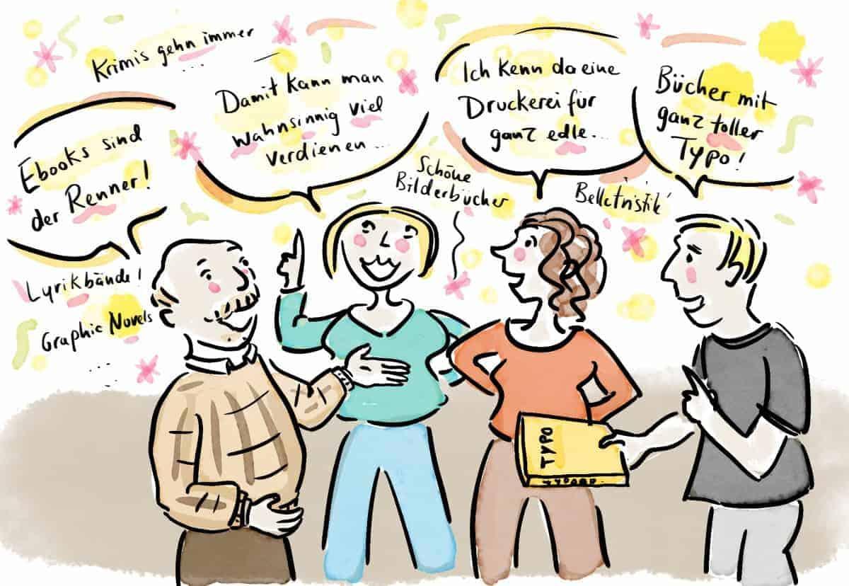 Begeisterte Freunde erzählen, wie sie sich meinen Verlag vorstellen.