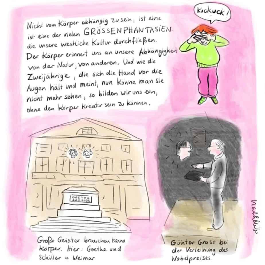 Zeichnung Goethe und Schiller schweben in Weimar