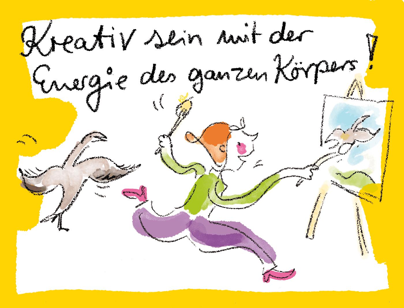 Zeichnung Frau malt kreativ