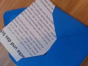 Das erste Briefchen des Adventskalenders aus dem Edelfrosch shop
