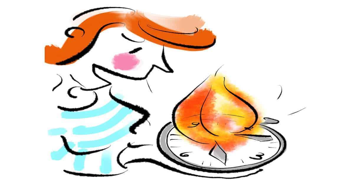 Frau schaut auf brennende Uhr