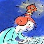 Autorin am Laptop mit Leuchtturm auf dem Kopf