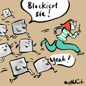 Kreative versucht vor den Blockaden wegzulaufen