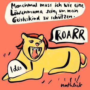 Löwenmutter schützt die Ideen beim kreativen Brüten