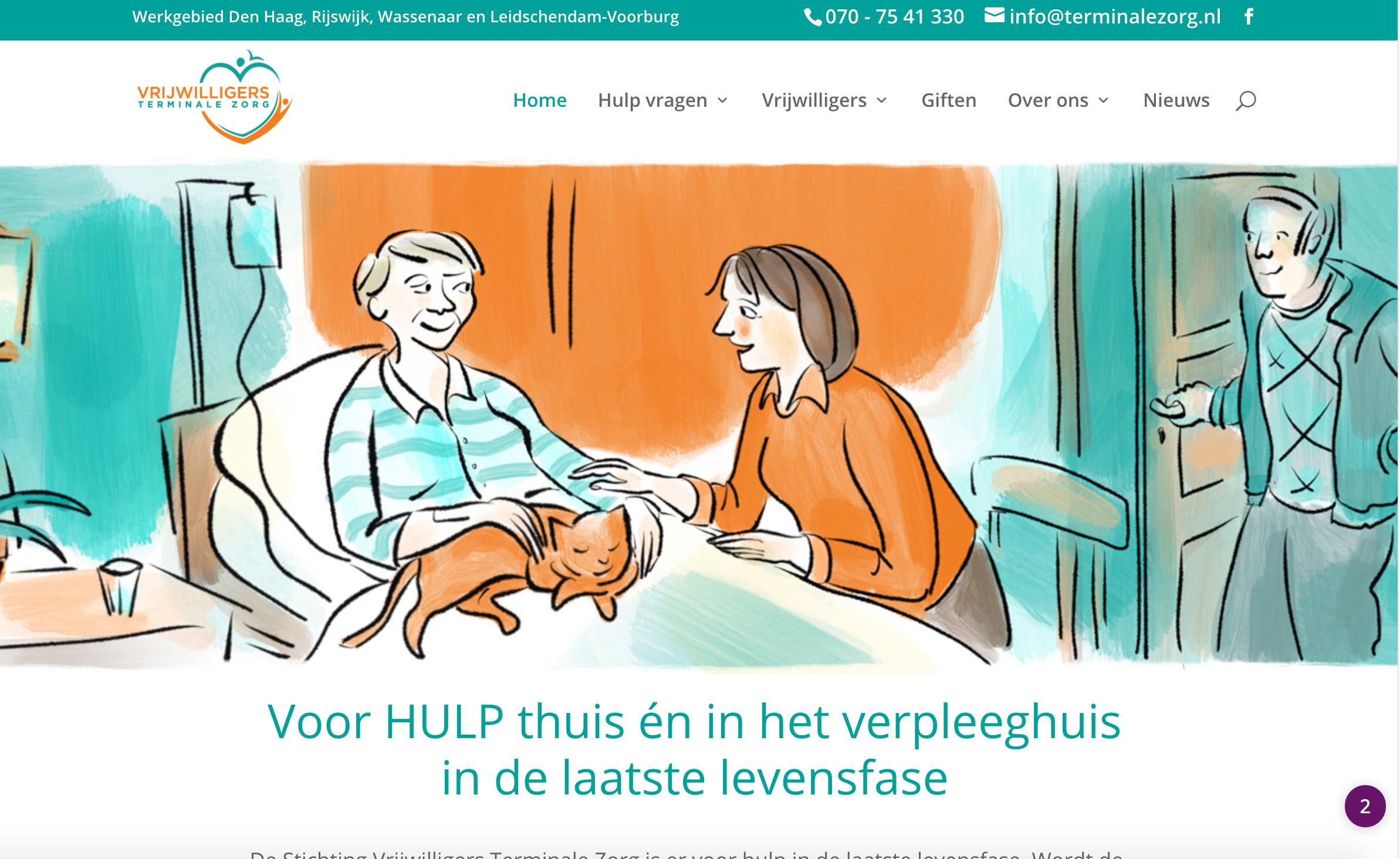 Illustratie website van vrijwilligers terminale zorg