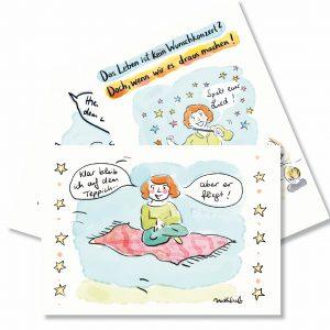Drei Postkarten mit Sprüchen zur Ermutuigung