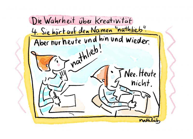 Postkarte mit Spruch und Cartoon über Kreativität