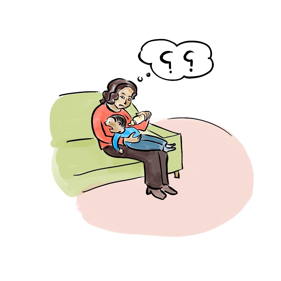 Unter und Kind mit Sprechblase mit arabischen Fragezeichen