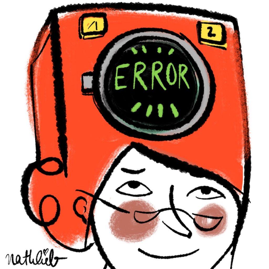 Waschmaschine im Kopf zeigt Warnmeldung ERROR an