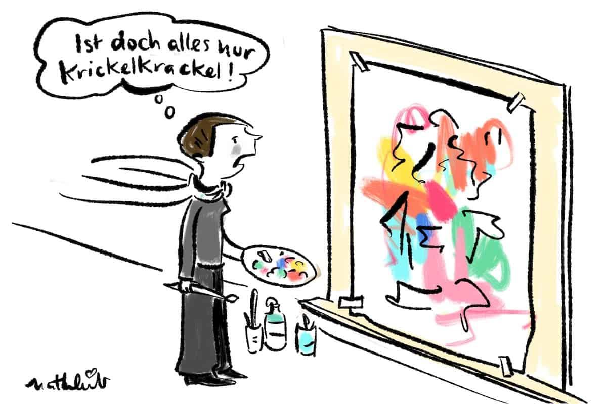 Malerin vor Leinwand Comic
