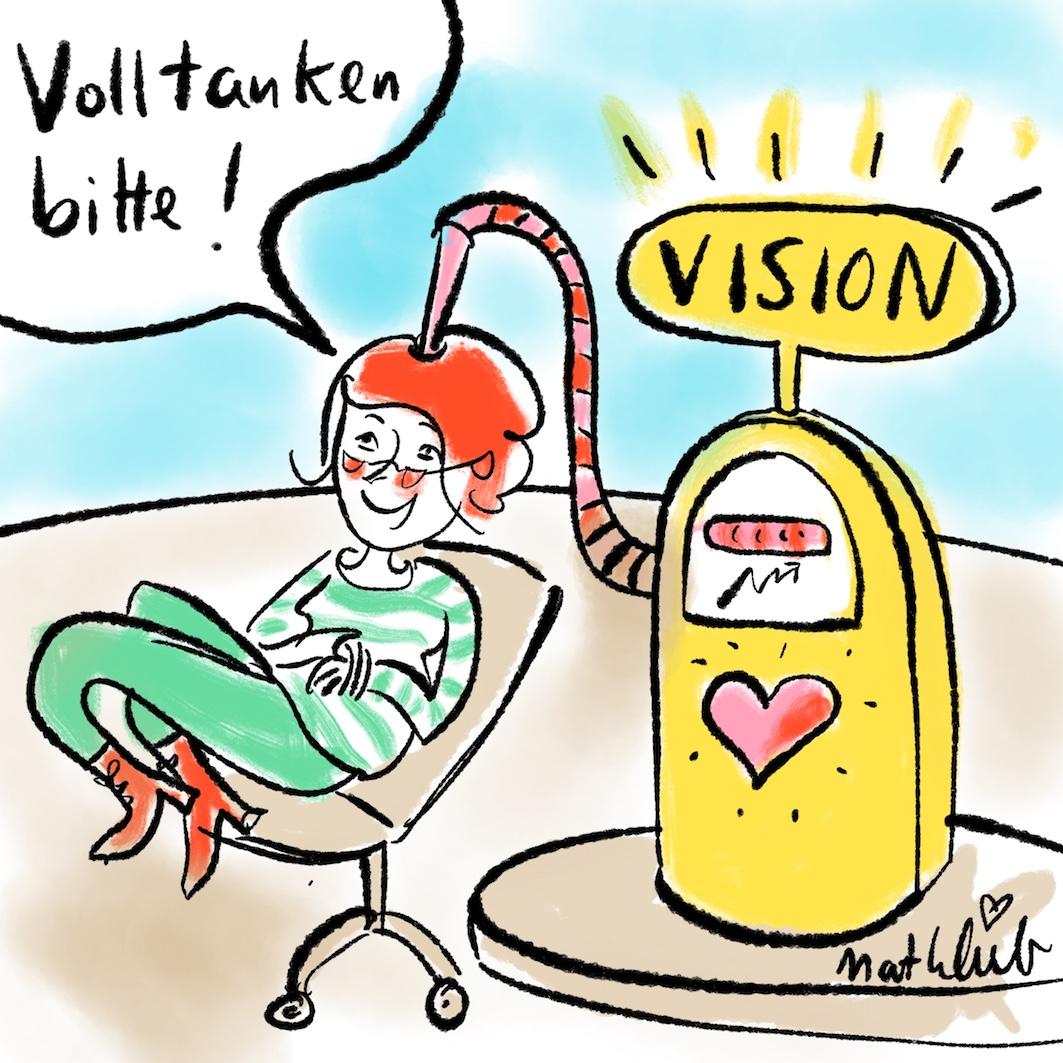 An der Tankstelle den Visions-Kraftstoff tanken
