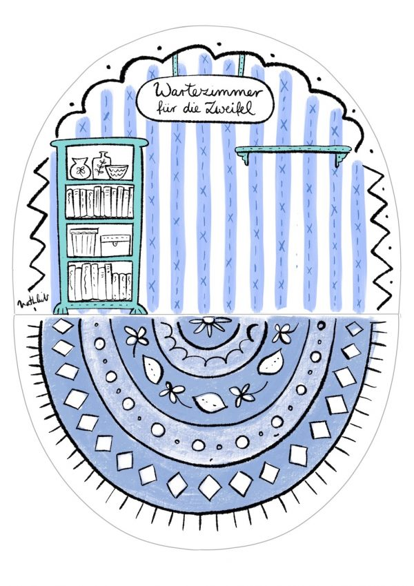 Der Hintergrund des Wartezimmer Bastelbogens mit gestreifter Tapete