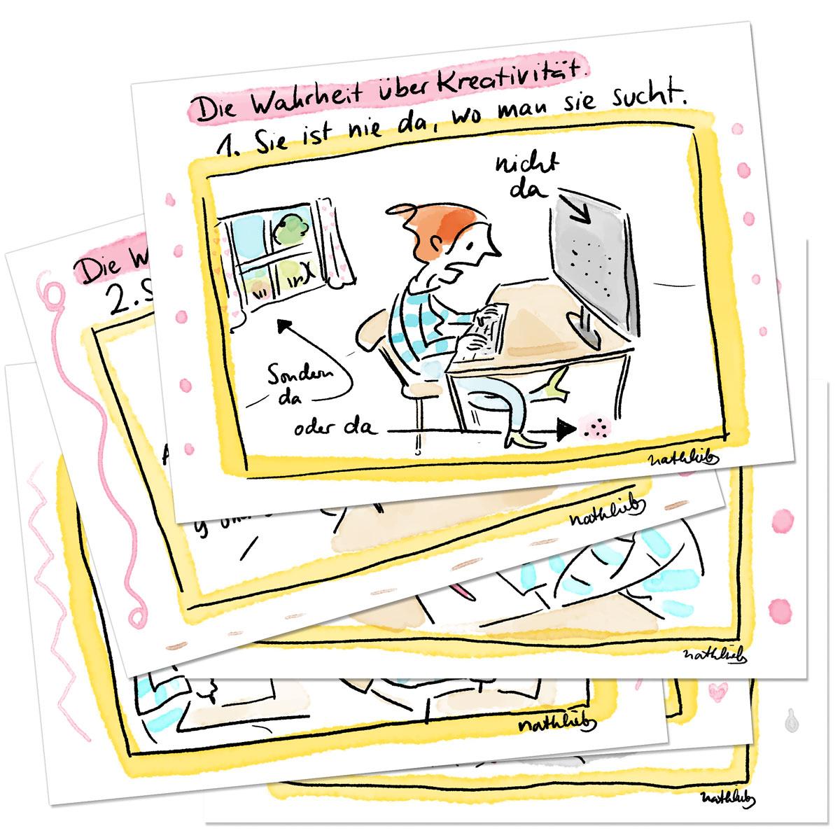 Postkarten für Kreative mit Sprüche zu Kreativität